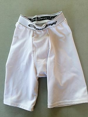 Rawlings White Compression Shorts with Pocket for Cup, Size Youth Regular