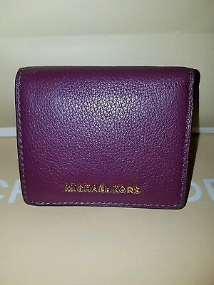 Michael Kors Bedford Carryall Plum Card Case Leather Nwt