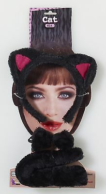 Animal Costume Accessory Kit Adult: Black Cat One Size
