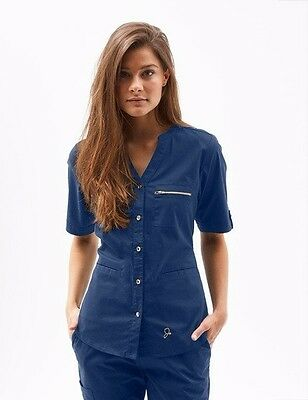 JAANUU Navy Scrub Top. Size Large New. The Button Down