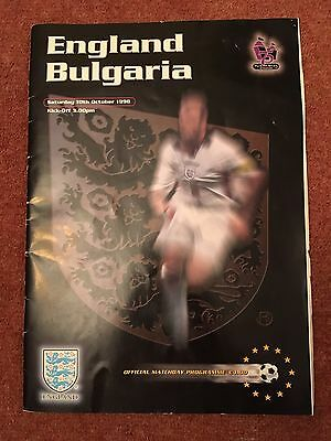 England V Bulgaria Official Matchday Programme.Sat 10th October 1998