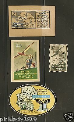 GLIDER -  GERMANY & FRANCE POSTER STAMPS  1932 - 46 /  LILIENTHAL Museum 1991