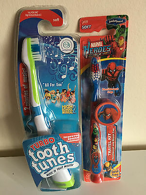 Turbo Tooth Tunes Tooth Brush & Marvel Heroes Tooth Brush SOFT BNIP
