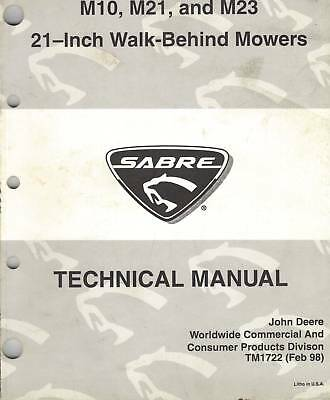 John Deere Sabre M10-M23 Walk-Behind Mowers Technical Manual Factory Original