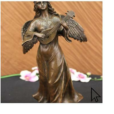 Bronze Sculpture Divine Angel Playing Music Marble Base Figurine By Moreau