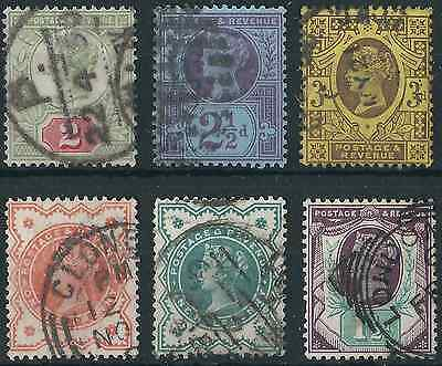 QV 1887-1900 Jubilee Issue 1/2d to 3d; 6 values: SG197-202 Fine Used.