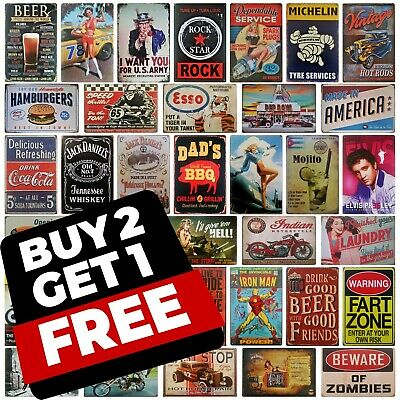 20x30 Metal plaque | Retro bar shed garage man cave motorcycle biker tin sign