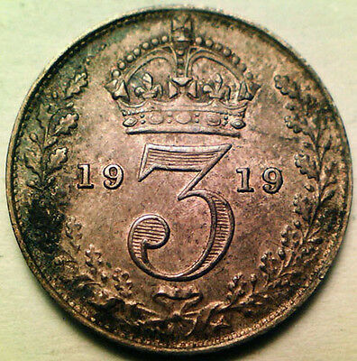 Great Britain Silver Threepence 3 Pence 1919 (Deeply Toned Unc!)