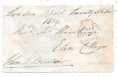 1819 Free Front London To Eton Signed John Jacob Buxton Mp For Great Bedwyn