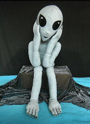 ALIEN DOLL, Handmade 3' GREY ALIEN with total body wire armature for posing.