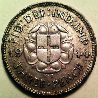 Great Britain Silver Threepence 3 Pence 1944 (Key Date!) Almost Unc!