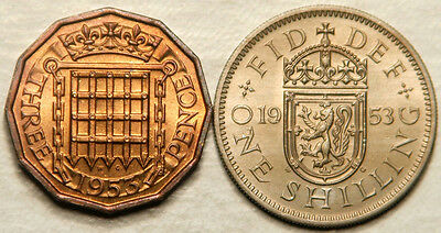 Great Britain Lot Of 2 (Two) Coins Threepence 3 Pence + 1 Shilling 1953 (Unc-Bu)
