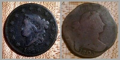 Two coins: 1803 Draped Bust Large Cent & 1826 Matron Coronet Liberty Head Penny