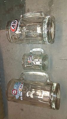 3 Vintage A&W ROOT BEER MUGS American Food All Different