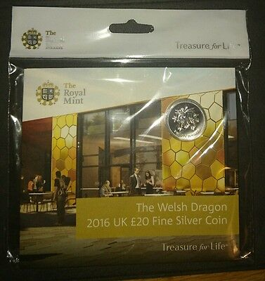 Brand New The Welsh Dragon UK £20 Fine Silver Coin Royal Mint only issue