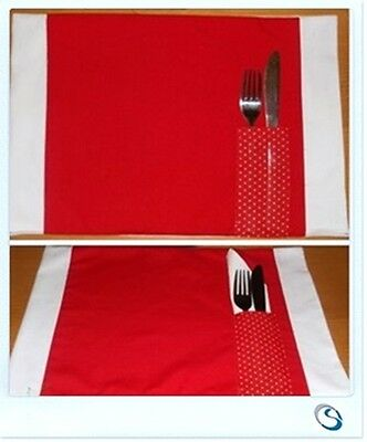 Pair TABLE MATS CUTLERY POCKET 2 Red UNIQUE Placemats NEW Handmade Dinner Fabric
