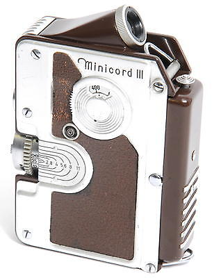 @ Goerz Minicord III brown  Helgor 1:2 f= 2,5 cm Subminiature TLR camera