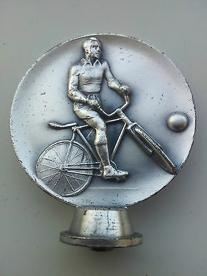 Vintage Brushed Stainless Medal/Trophy Topper Featuring Embossed Trick Cyclist