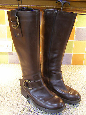 Clarks ladies brown leather knee high boots size 5