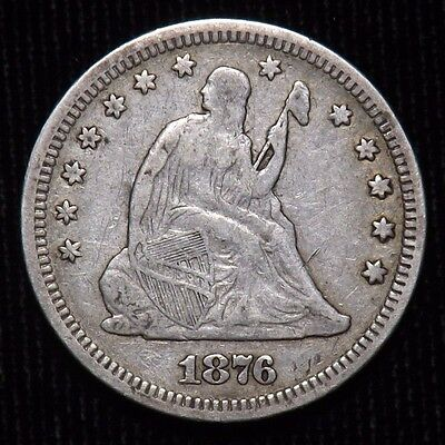 1876 Seated Liberty Quarter  VF - XF