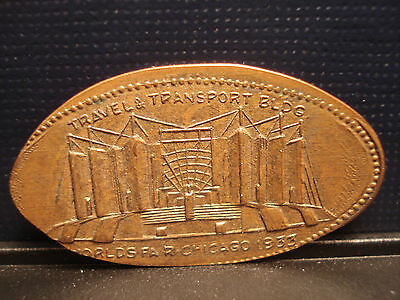 Chicago Illinois 1933 World's Fair Travel & Transport Buliding Elongated Cent IL