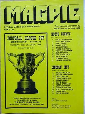 Notts County v Lincoln City FL Cup 1981/82
