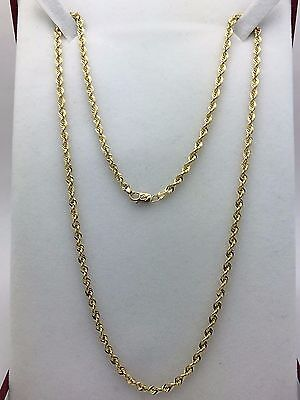 "New Solid 10K Yellow Gold 20"" Diamond Cut Rope Chain Necklace 11.2 grams 3 mm"