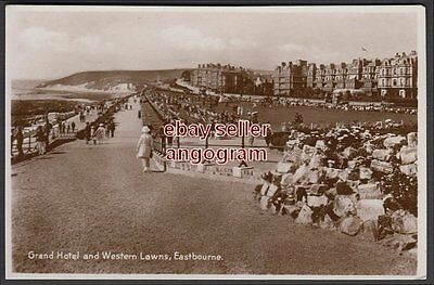 SUSSEX REAL PHOTO POSTCARD - Grand Hotel and Western Lawns, Eastbourne.