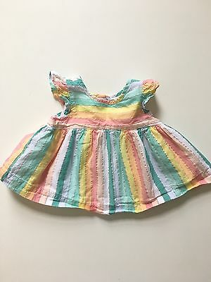 Baby Gap Girls 3-6 Month Rainbow Striped Flutter Sleeve Babydoll Top