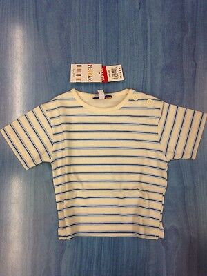PICK OUIC  BRAND NEW BABY UNISEX  TSHIRT CREAM/BLUE Size 6 MONTHS  100% COTTON