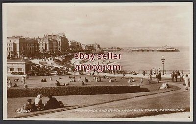 SUSSEX REAL PHOTO POSTCARD - Promenade and Beach from Wish Tower, Eastbourne.