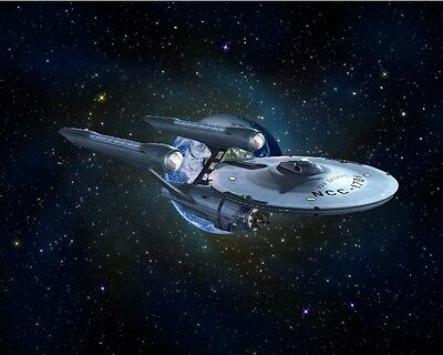 Star Trek, USS Enterprise With Galaxy Background 8X10 collector's print