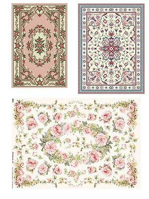 Dollhouse Miniature Computer Printed Fabric 3 Floral Rugs Kitchen Bathroom 1:12