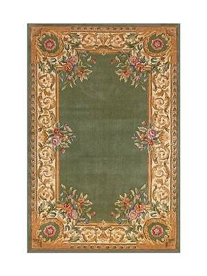 Dollhouse Miniature Computer Printed Fabric Rug Gold Green Persian Oriental 1:12
