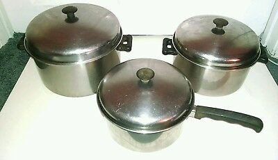 Vtg VOLRATH Lo-Heet Stainless Steel Sauce Pan Stock Pot 3 4 5 Qt set with Lids
