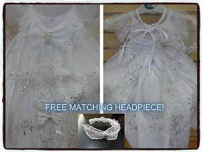 New Baby Girls Christening/Baptism Dress>White>W Tail >Virgen de Guadalupe 00-6