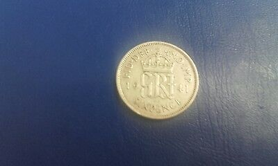 british silver sixpence 1941 nice coin