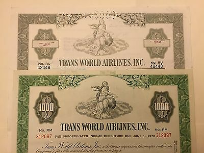 Pair of 2 Diff. Trans World Airlines Bond Certificates $1000 & $5000 TWA 1961!