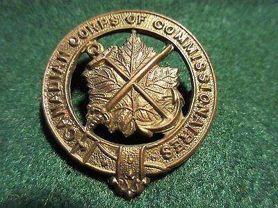 Canadian Corps of Commissionaries Obsolete Hat Badge Brass