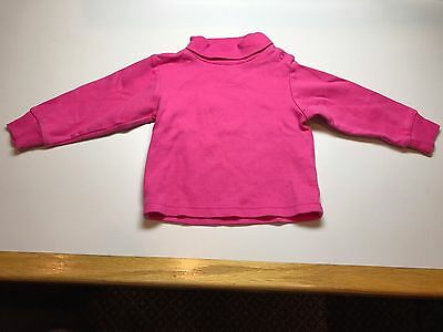 Le Top Baby Girl 100% Cotton Pink Turtleneck - 12 Months
