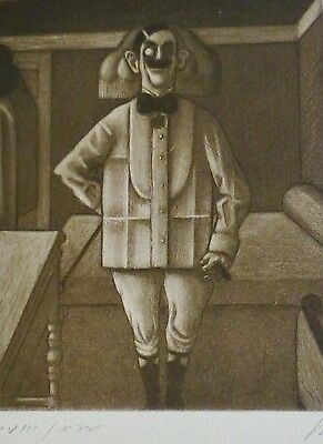 """Prof. WOLFGANG HERZIG """"The cavalier"""" Etching Hand Signed Listed Austrian artist"""