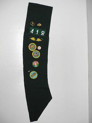 Vintage Girl Scout Sash with Troop Patch, 3 Pins and 10 Proficiency Badges