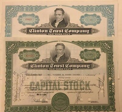 Two Diff. Clinton Trust Co. Stock Certificates DeWitt not Hilliary! 1951-1955