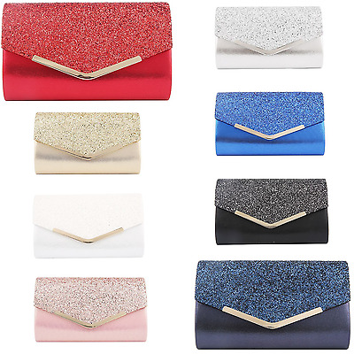 Glitter Sparkle Wedding Party Prom Envelope Evening Clutch Hand Bag Purse