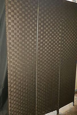 Room divider - Chocolate weave three panel vanity screen partition