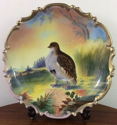 Gorgeous Hand Painted Wildlife Cabinet Plate, LGAS Austria, Partridge in Field