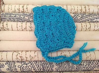 Cyan blue PREMIE BABY vintage style BONNET - made in Perth