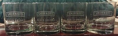 Four (4) Etched Smirnoff Rock Glasses Libbey Finedge MINT Like New Free Ship