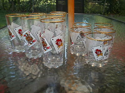 Pasabahce Playing Cards Poker Full House Tumblers/Rocks Glasses Set Of 11