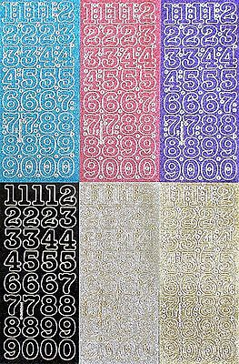 25mm Tall(2.5cm)Sparkle NUMBERS PEEL OFF STICKERS 0 - 10 Cardmaking